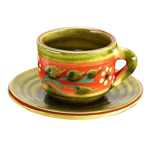 Taza y plato Café Floral